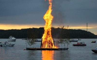 Juhannuskokko palaa Myllysaaressa 21.6.2019 klo 21